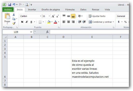 Escribir varias lineas en una misma celda de Excel