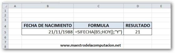 Fórmula para calcular la edad en Excel