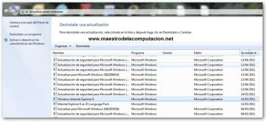 Desintalar Internet Explorer 9