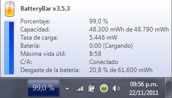 BatteryBar – Estadísticas completas de la batería de tu portátil