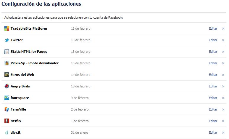 Limpia tu Facebook eliminando aplicaciones que no utilices